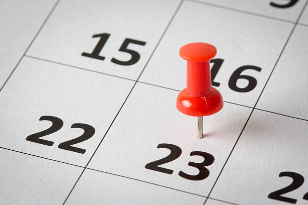 appointments marked on calendar - number 23 stock photos and pictures