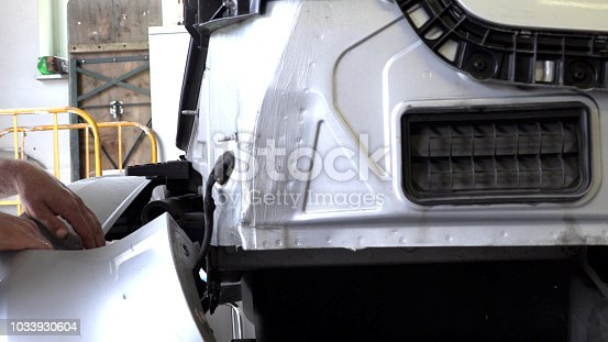 istock Appraiser checks damage to the vehicle 1033930604