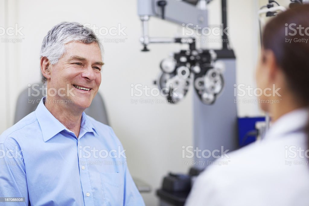 Appreciating her help with his eye care royalty-free stock photo