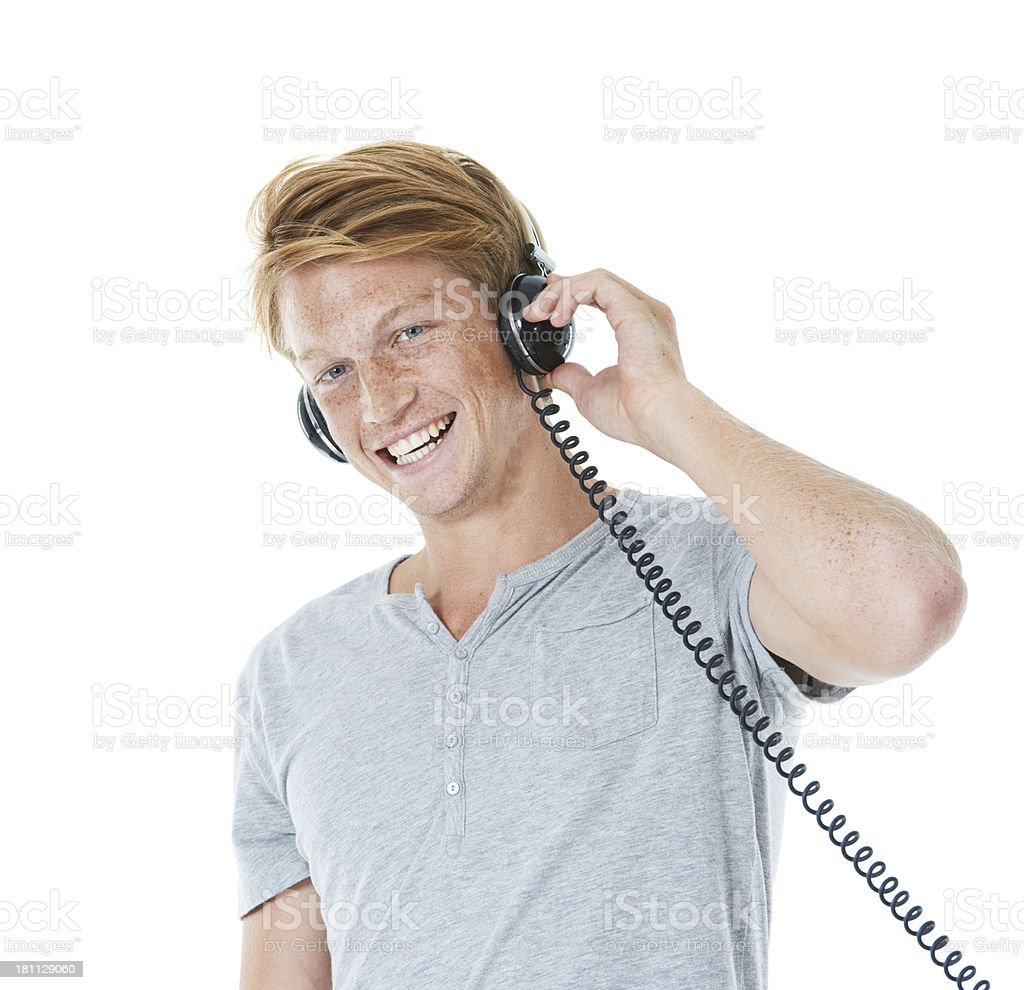 Appreciating his favourite band royalty-free stock photo
