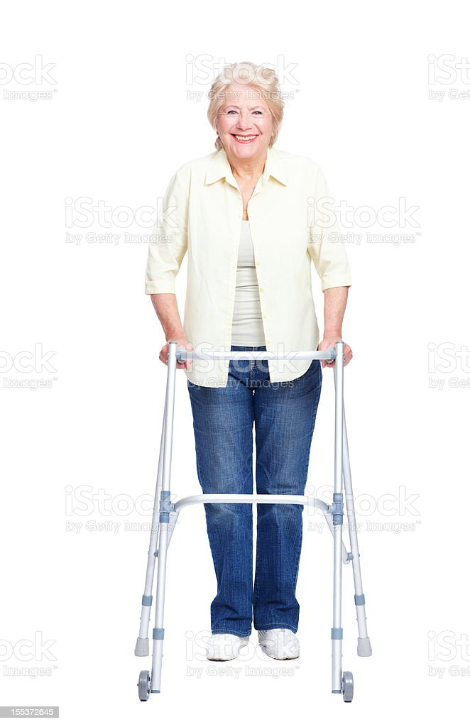 Appreciating the assistance her walker provides! royalty-free stock photo