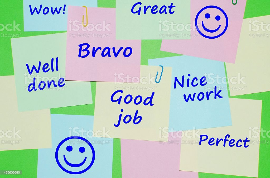 Appreciation messages on reminder notes stock photo