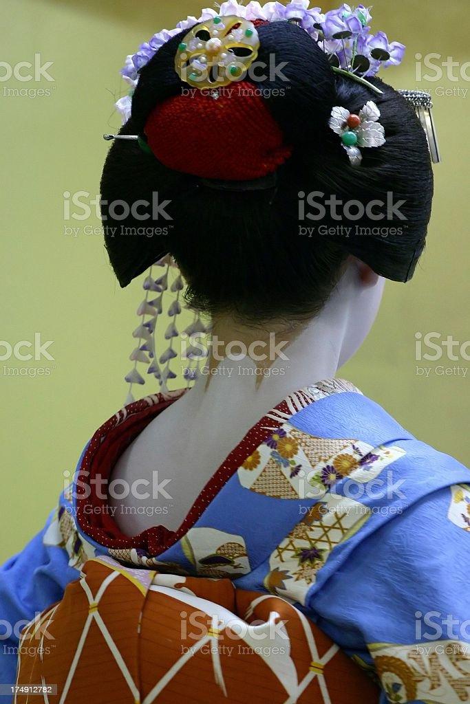 Apprentice geisha's neck stock photo