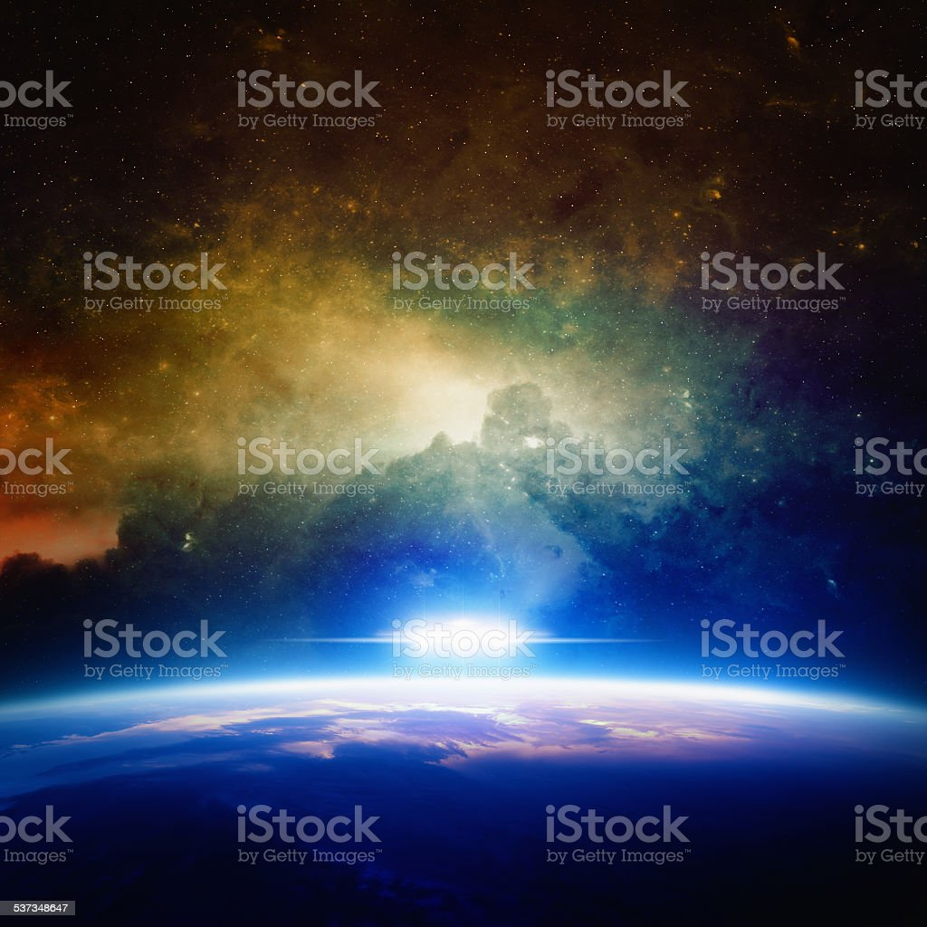 UFO approaches planet stock photo
