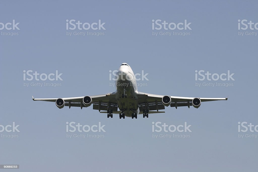 Approaching airplane, frontview royalty-free stock photo