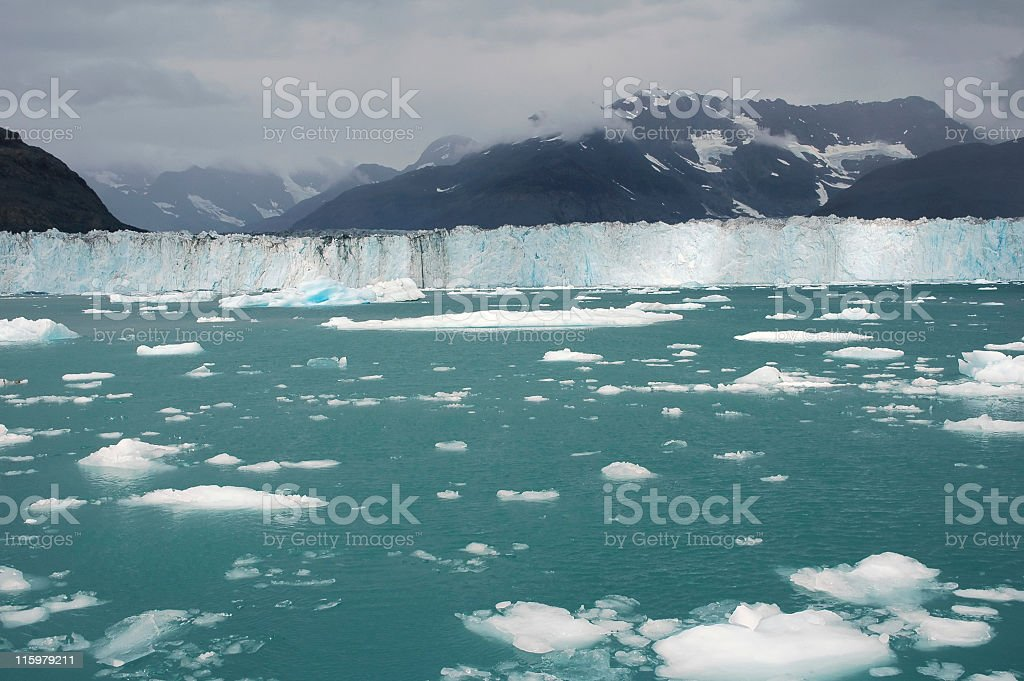 Approaching Columbia Glacier in Prrince William Sound,,Alaska royalty-free stock photo