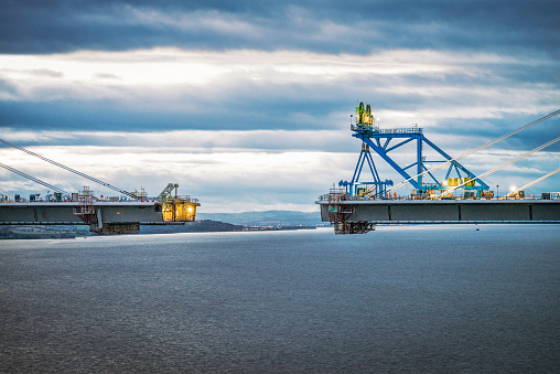 Construction nearing completion on the new bridge over the Firth of Forth between Fife and the Lothians.