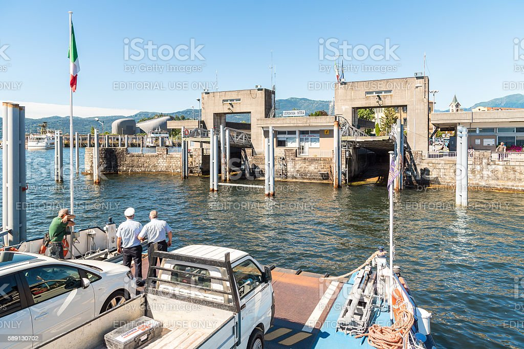 Approaching Harbor of Verbania Intra with Ferry boat. stock photo