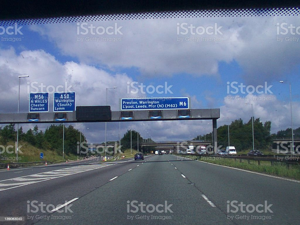 Approaching Junction 20 on the M6, nr Warrington stock photo