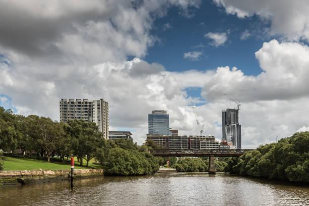 Approaching Parramatta city on the river, Australia. stock photo