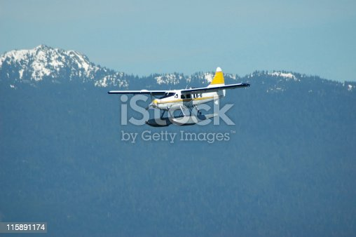 A seaplane approaching for landing