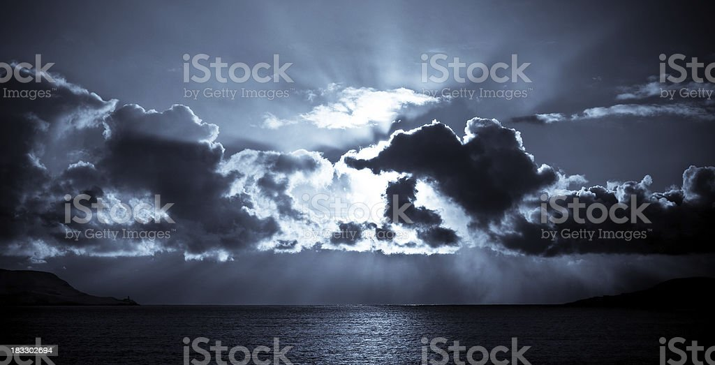 Approaching Snow Storm Above Shetland royalty-free stock photo