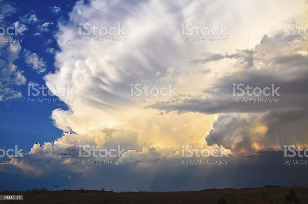 Approaching storm at the sunset royalty-free stock photo