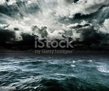 Dangerous storm over ocean.