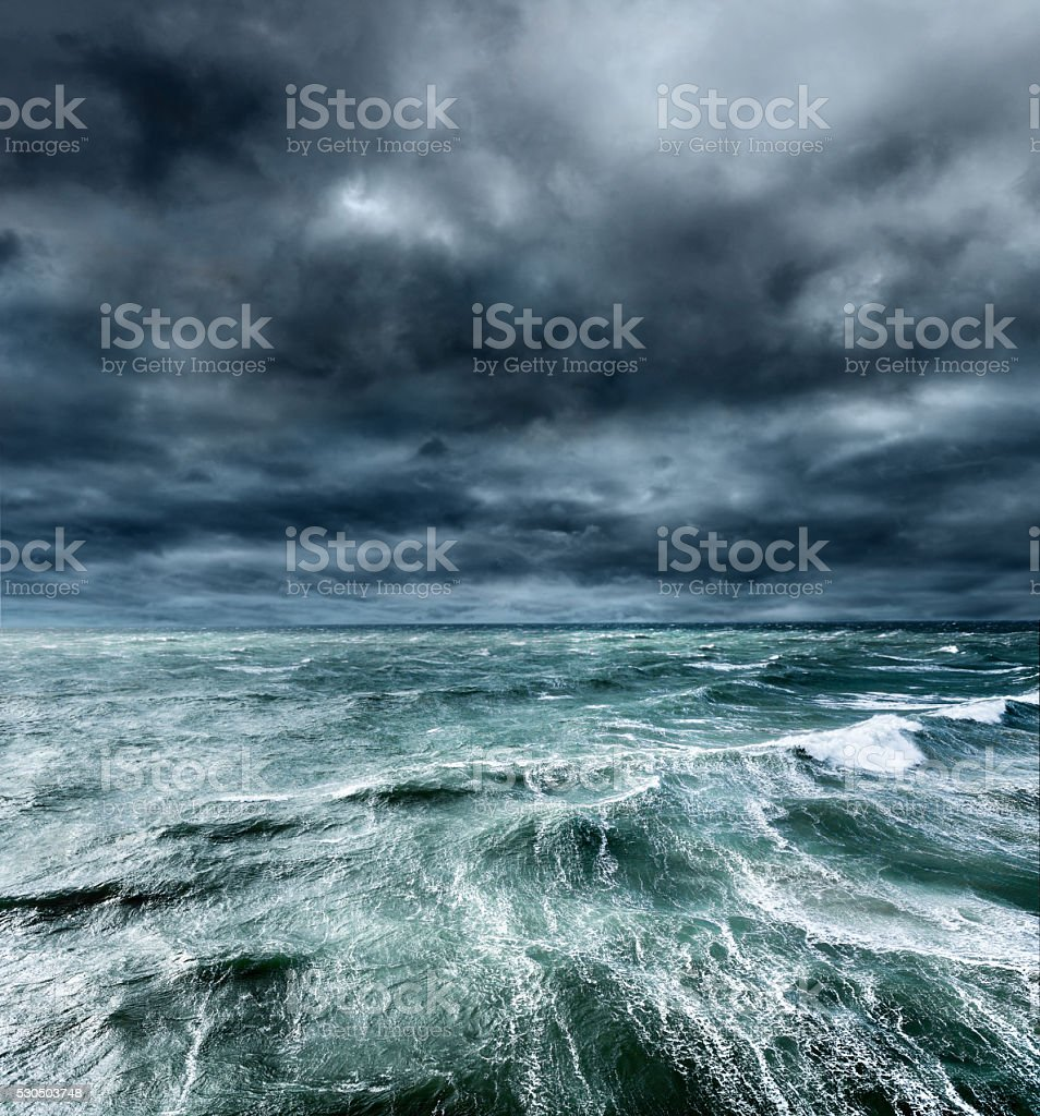 Approaching storm over the ocean. stock photo