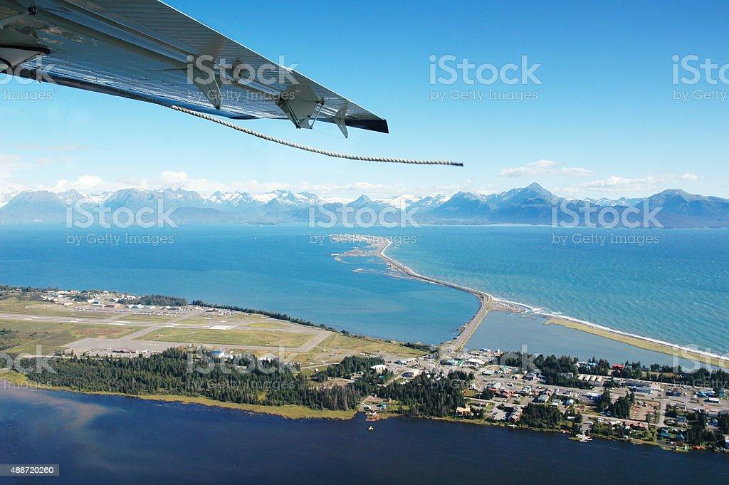Approaching the airport of Homer, Alaska,USA stock photo