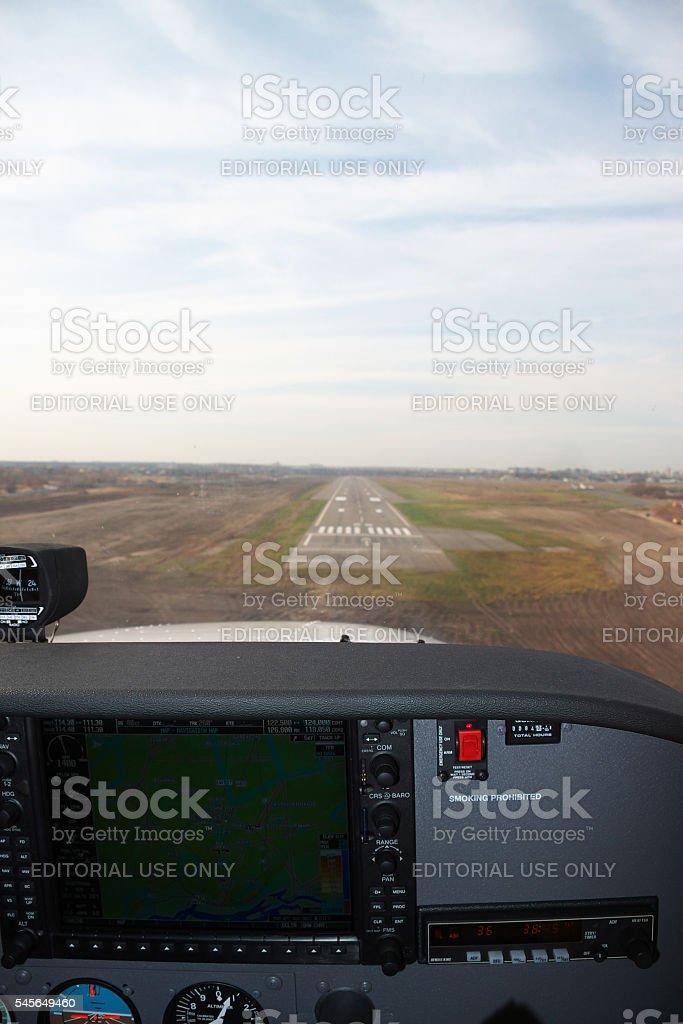 Approaching the runway stock photo