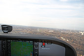 Kiev, Ukraine - November 12, 2010: Approaching the airport for landing from the cockpit of the Cessna 172 Skyhawk