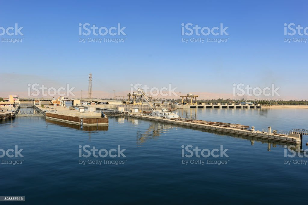 Approaching the Ship locks in Esna, and old dam on the Nile River, Egypt stock photo