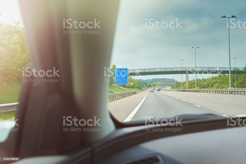Approaching the sign stock photo