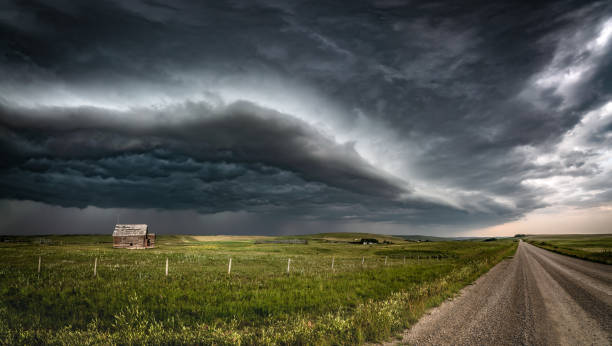Approaching Thunderstorm with Abandoned Schoolhouse