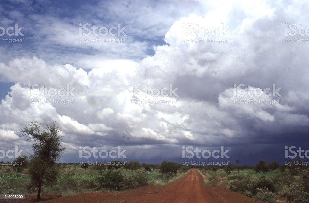 Approaching Tropical Line Squall and cloudscape over Yatenga savanna bush landscape Burkina Faso Africa stock photo