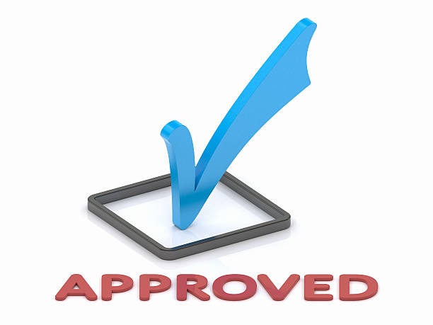 Approbation Check Mark Closeup view of a blue check mark with approved text on a white background approbation stock pictures, royalty-free photos & images