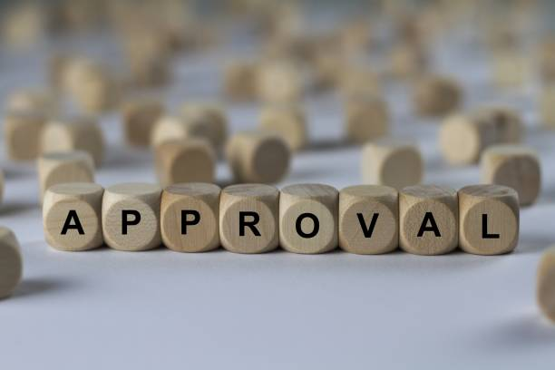 approval - cube with letters, sign with wooden cubes series of images: cube with letters, sign with wooden cubes approbation stock pictures, royalty-free photos & images