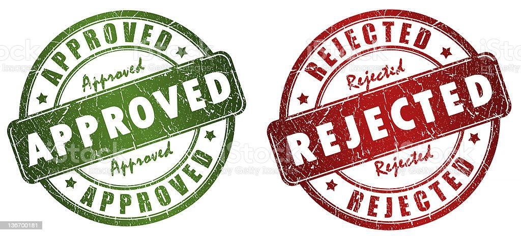 Approved and rejected stamps royalty-free stock photo