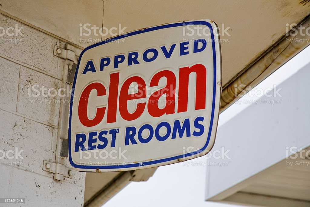 approved clean rest rooms sign royalty-free stock photo