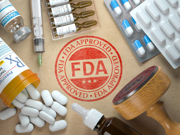 FDA approved concept. Rubber stamp with FDA and medicine. stock photo