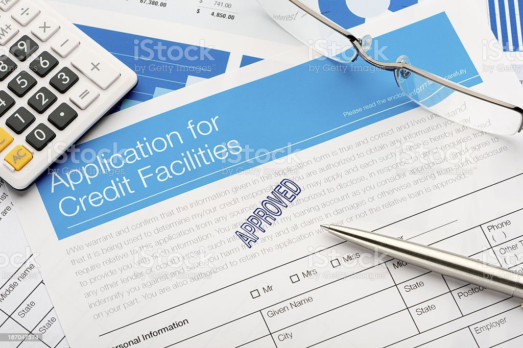 Approved Credit application form stock photo