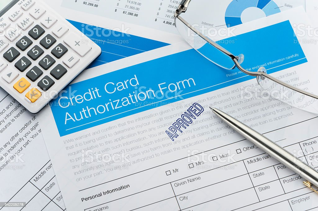 Approved credit card authorization form stock photo