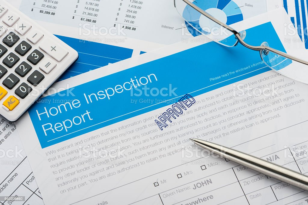 Approved Home Inspection report form. stock photo