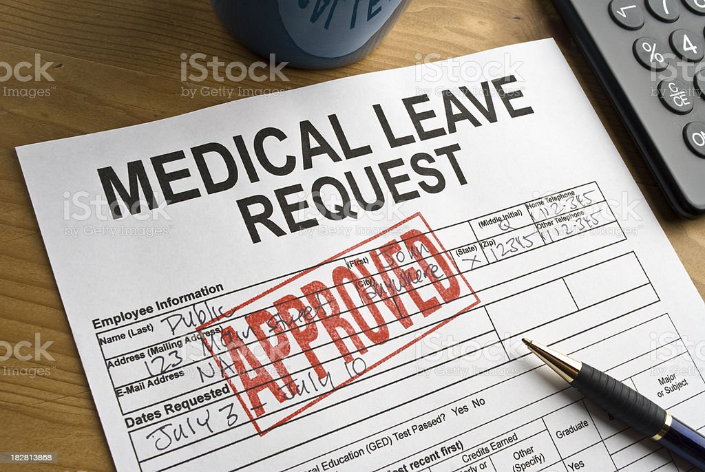 Approved Medical Leave stock photo