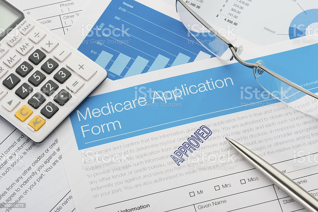 Approved Medicare application form stock photo