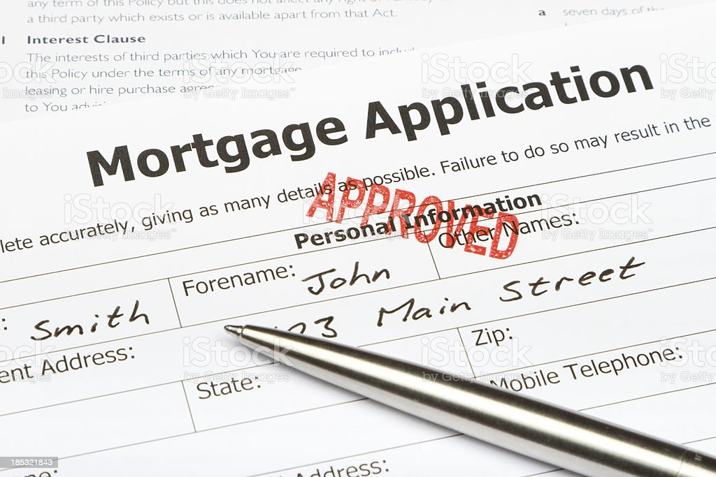 Approved Mortgage Application stock photo