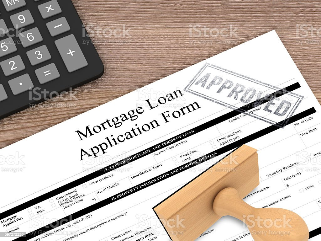 Approved mortgage loan contract form desk top view royalty-free stock photo