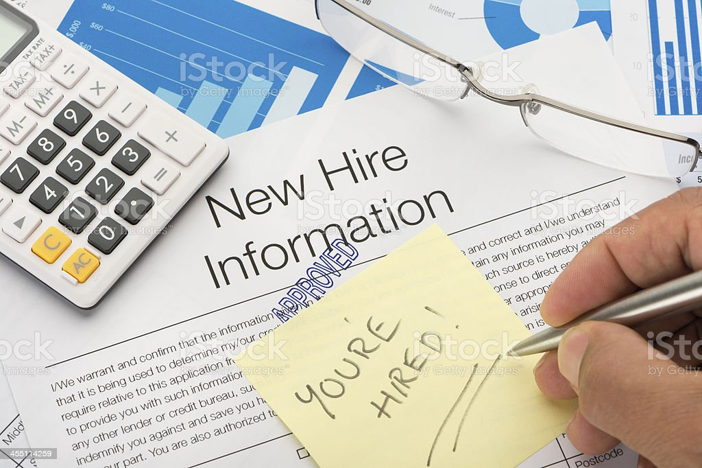 Approved New hire information employment form stock photo