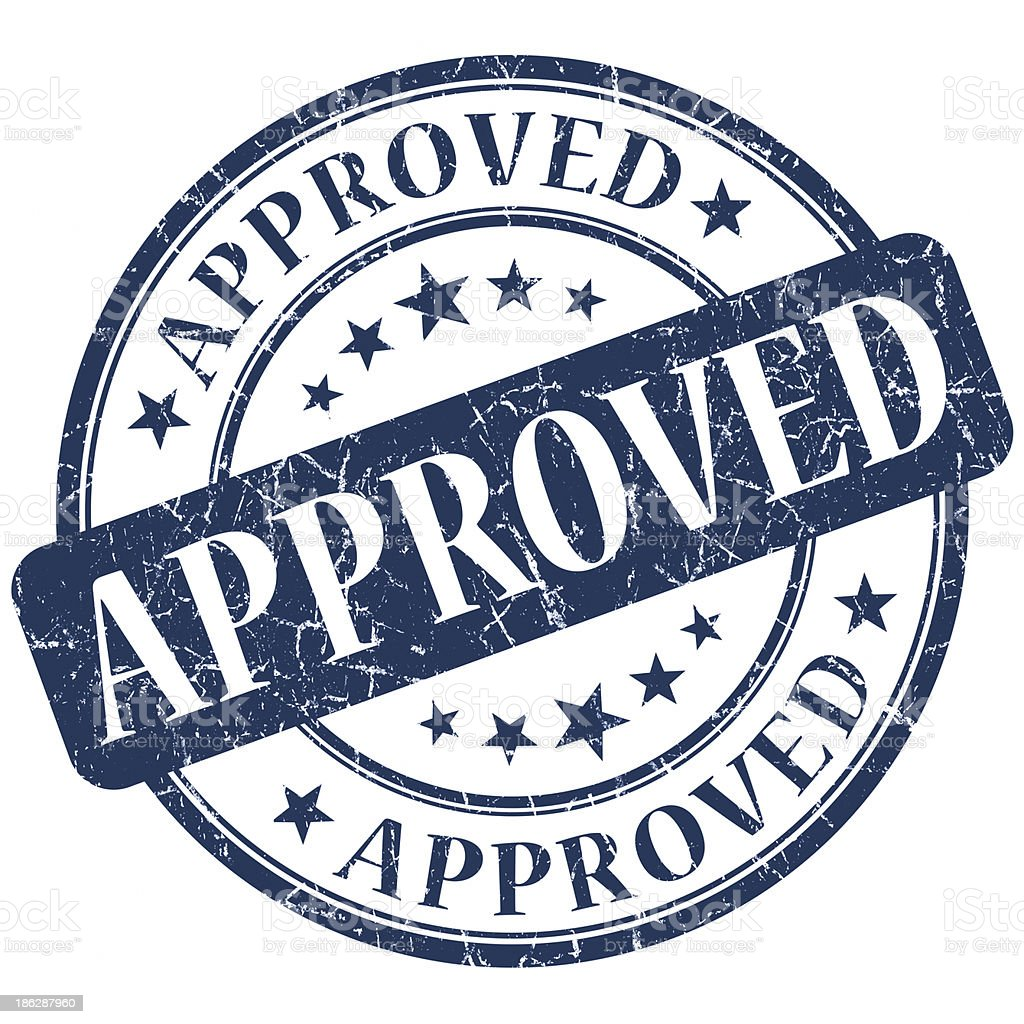 approved round blue stamp stock photo
