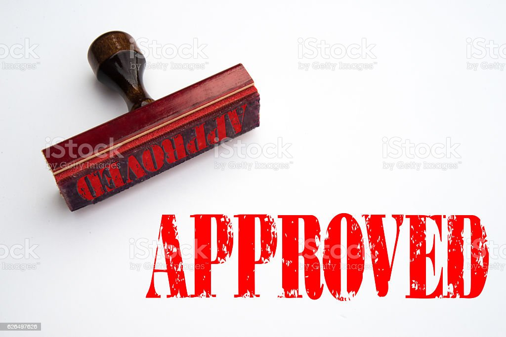Approved rubber stamp stock photo