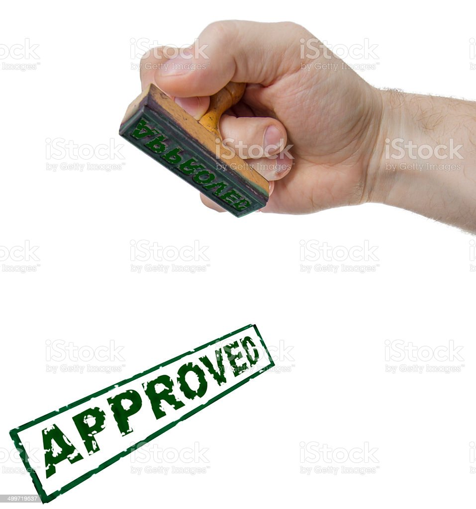 Approved sign form stamp stock photo