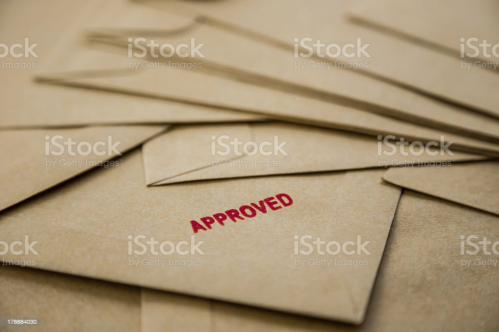 Approved sign on envelope stock photo