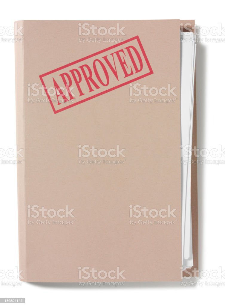 Approved Stamp on a Folder royalty-free stock photo