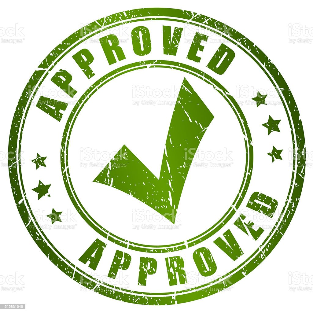 Approved tick rubber stamp stock photo