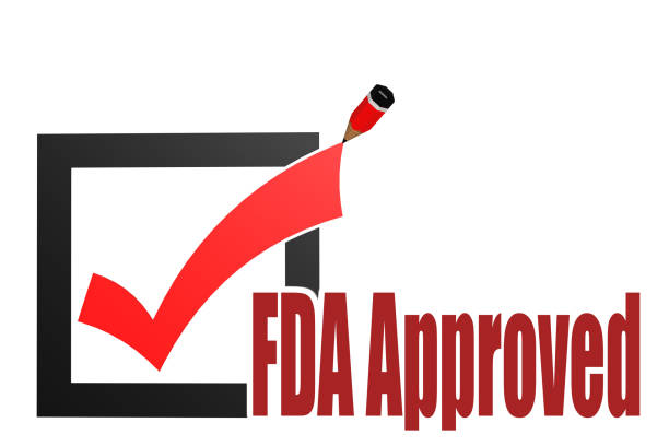 fda approved word with check mark and pencil - fda stock photos and pictures