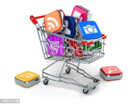 istock Apps icons in shopping cart. Store of  computer software. 506472769