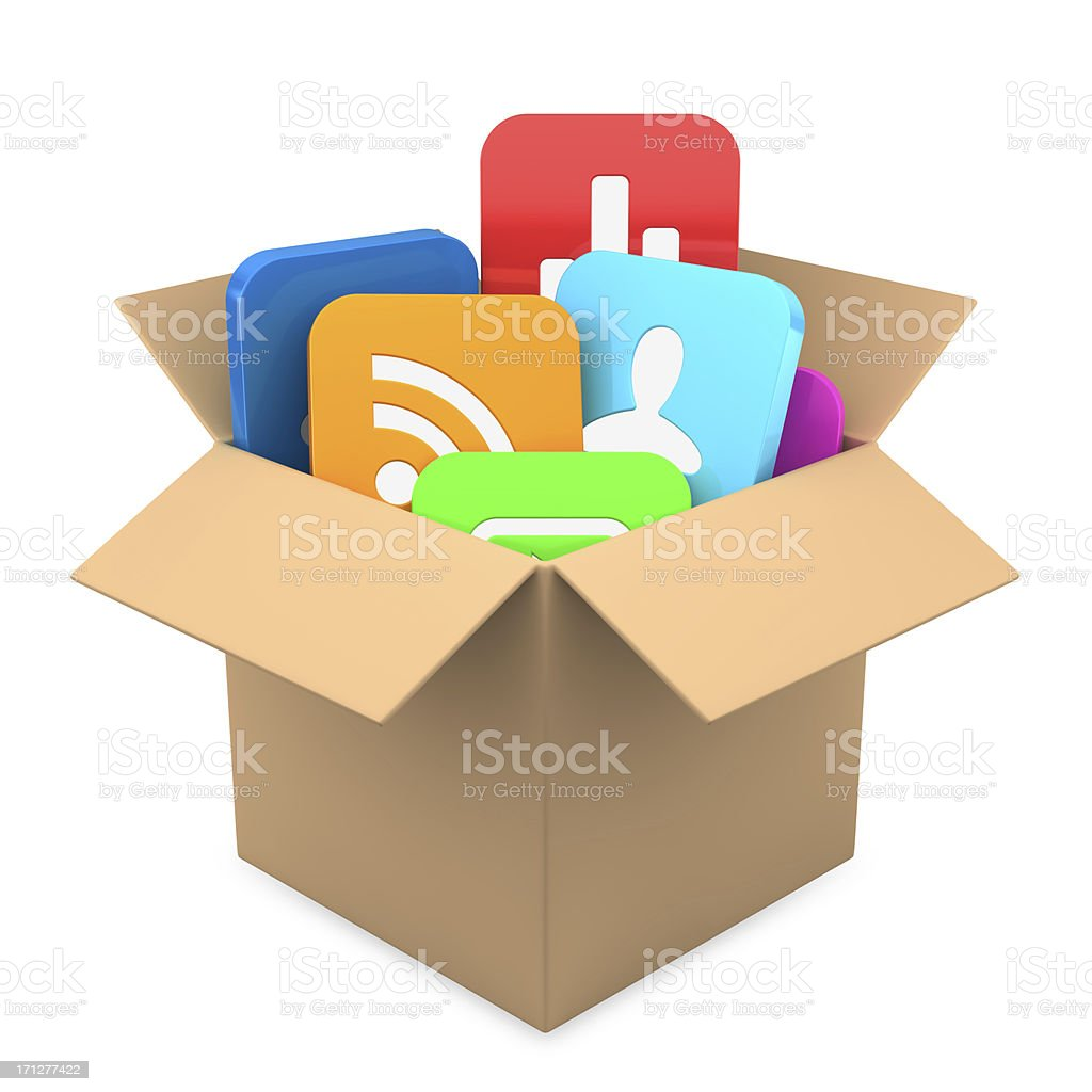 Apps inside present  box royalty-free stock photo