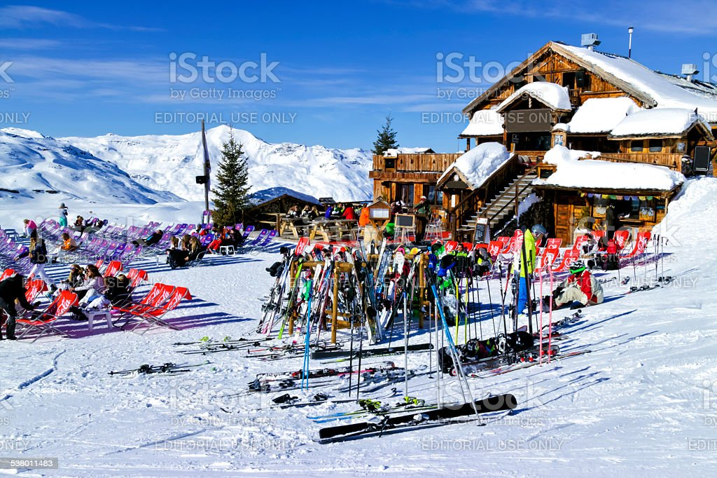 Apres ski in a chalet bar in Alps stock photo