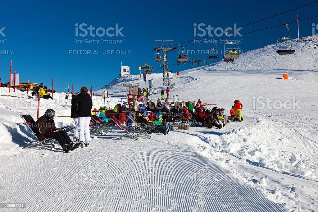 Apres-Ski in Obersaxen stock photo
